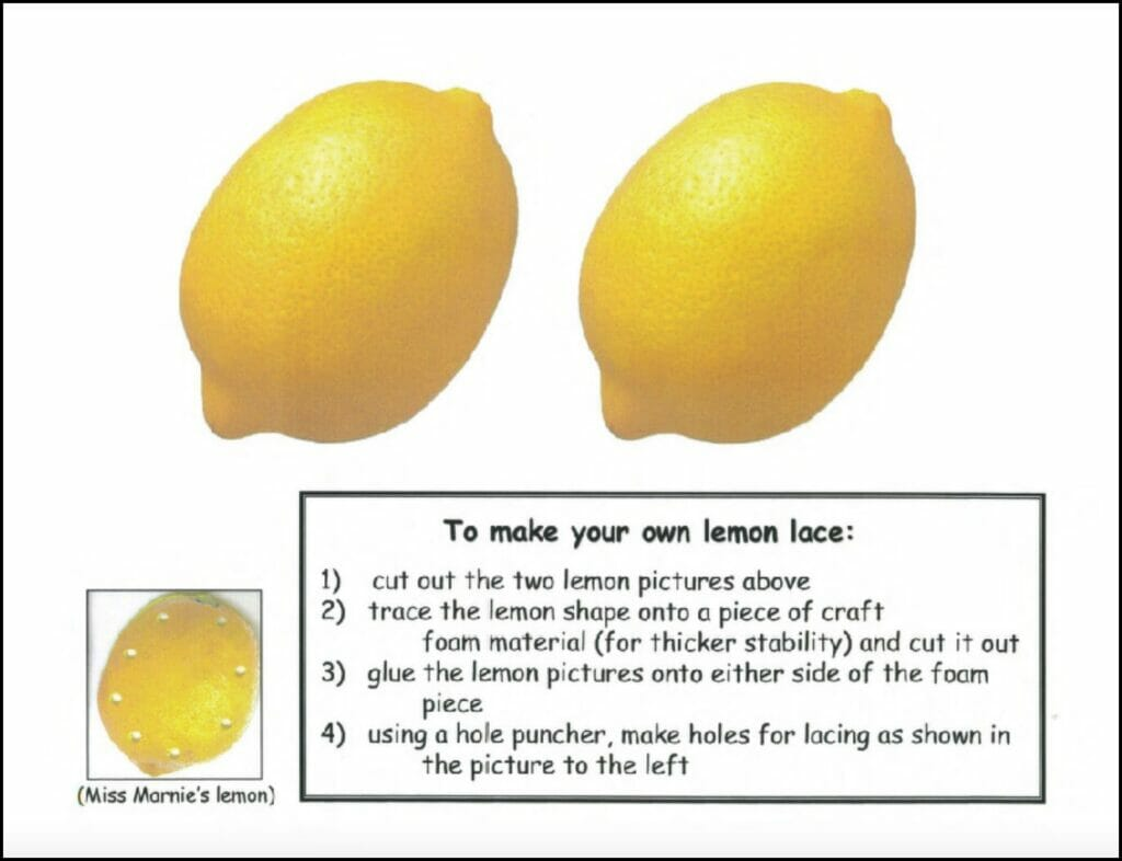 Lace a lemon activity in alphabet beats handwriting program by The TV Teacher