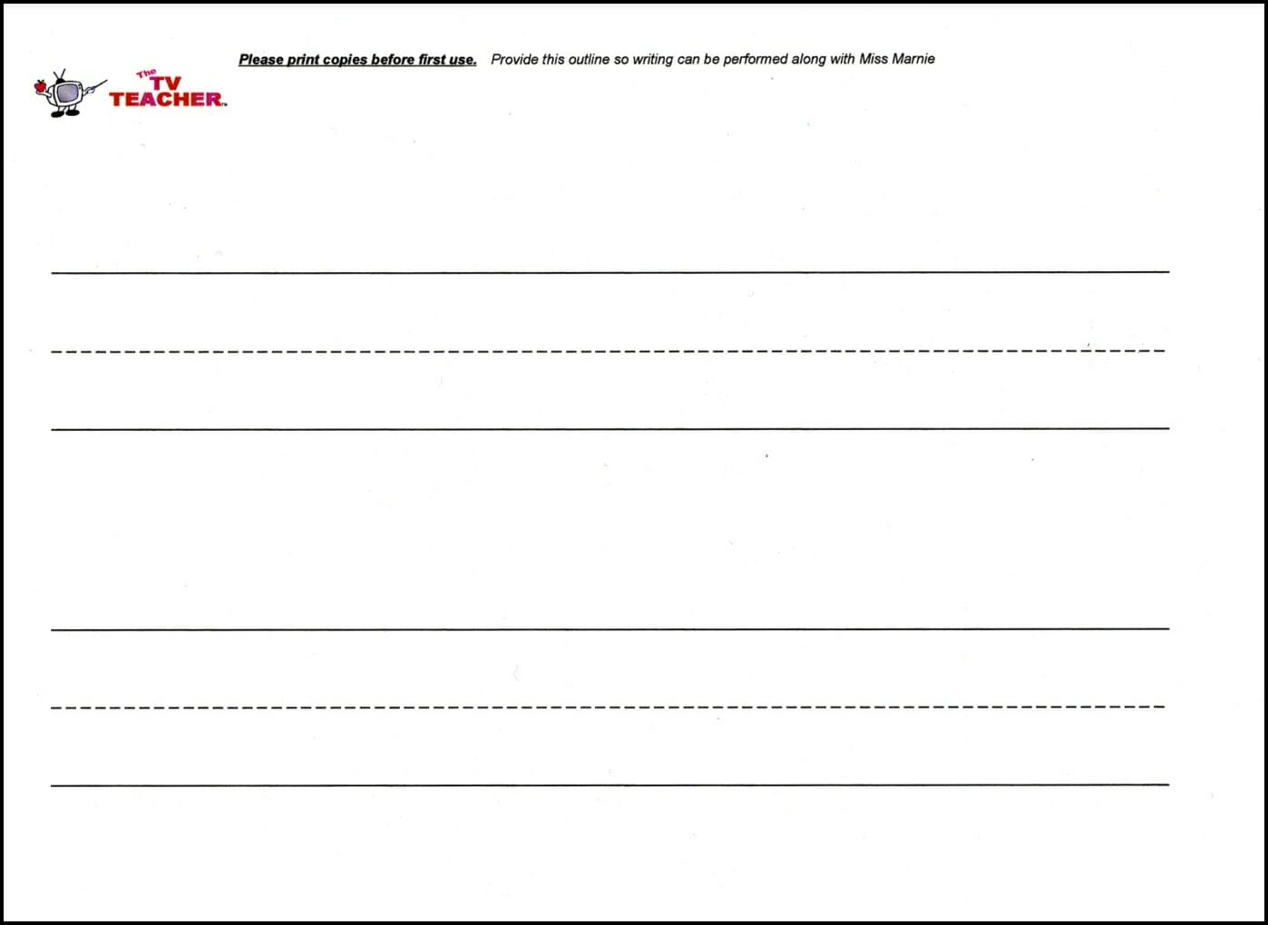 Free download blank writing paper for Number Beats