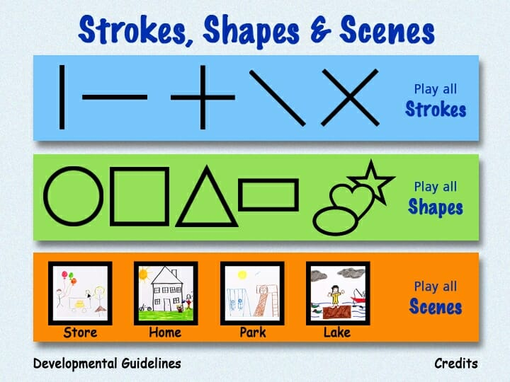 TV Teacher Strokes-Shapes-Scenes online writing curriculum menu